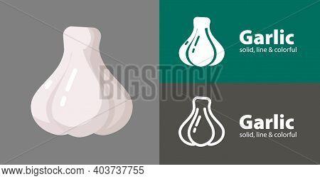 Garlic Flat Icon, With Garlic Simple, Line Icon