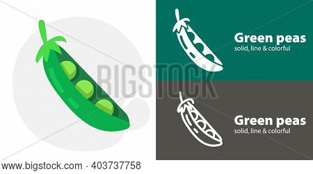Pea Flat Icon, With Green Peas Simple, Line Icon
