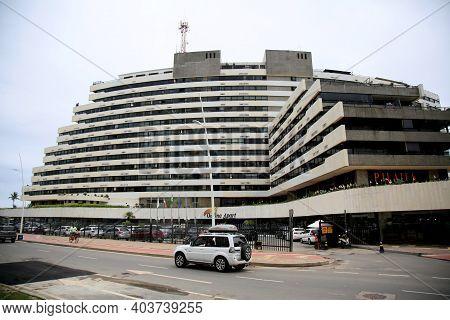 Salvador, Bahia, Brazil - January 15, 2021: Vista Do Ondina Apart Hotel No Bairro De Ondina Na Cidad