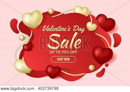 Valentine's Day Sale 70% Off Poster Or Banner. Valentine's Day Sale Background With Abstract Shapes.