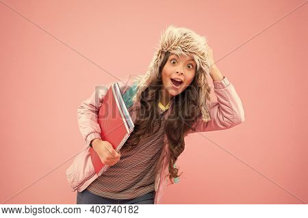Academic Term. Winter Semester. Teen With Backpack And Books. Stylish Schoolgirl. Girl Little Fashio
