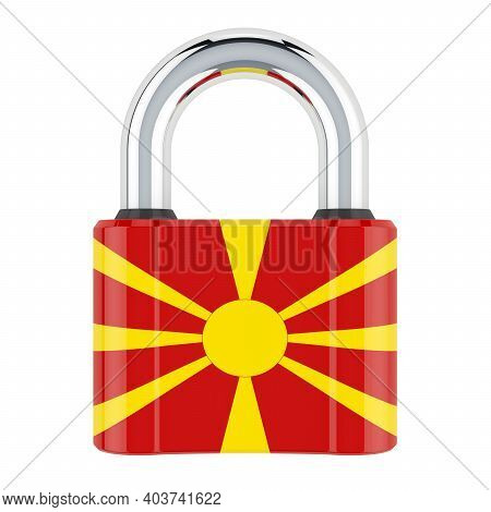 Padlock With Macedonian Flag, 3d Rendering Isolated On White Background