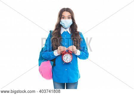 Shortened Quarantine Period. Surprised Kid Hold Alarm Clock. Wearing Face Covering. Coronavirus Incu