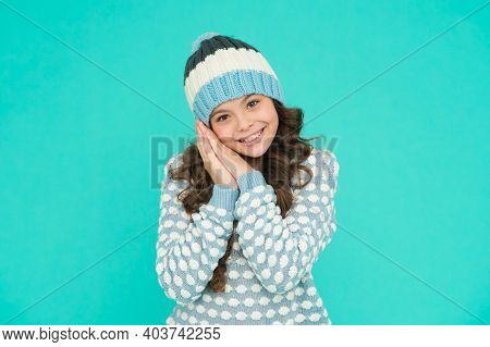 Feeling Playful. Teenager In Knitted Hat And Sweater. Childhood Happiness. Keep Warm And Comfortable