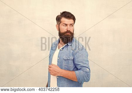Denim Fashion Trends. Personality And Character. Charisma Concept. Bearded Well Groomed Hipster. Goo