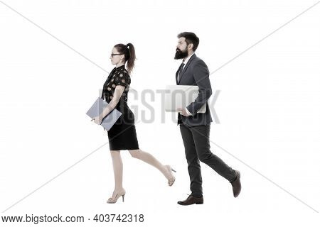 Follow Same Direction. Businessman Bearded Face And Lady With Documents Folder. New Business Directi