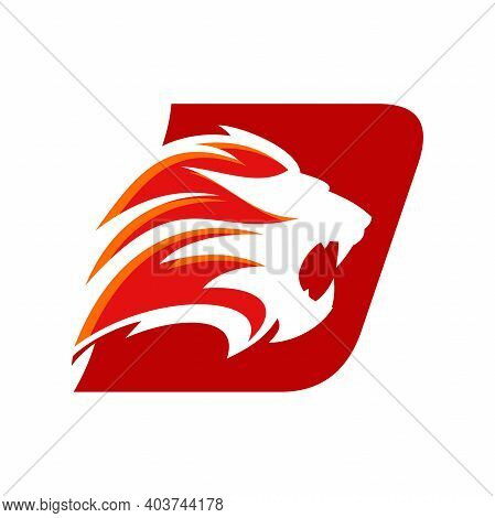 Bold And Strong Illustration Logo Design Initial D Combine With Lion Head, Make Your Company Look Br