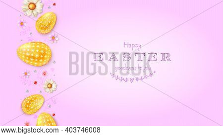 Happy Easter Greetings Card. Abstract Pattern With Golden Paschal Eggs, Pearls And Spring Flowers. V