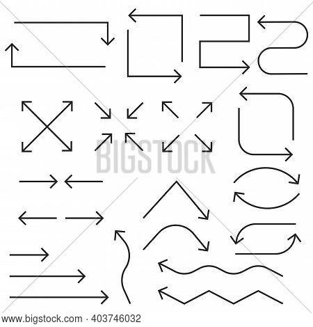 Arrow Icon. Flat Arrows. Thin Line Icon Set. Hand Drawn Vector Illustration. Stock Image. Eps 10.