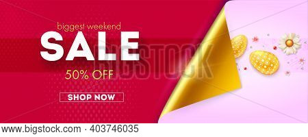 Biggest Weekend Sale. Golden Corner Of Paper Opening Advantageous Offer. Pattern With Painted Eggs A