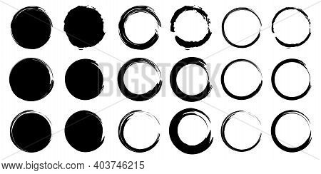 Brush Circles. Grunge Texture. Hand Drawn Round Shape. Watercolor Stroke Circles. Line Vector. Stock