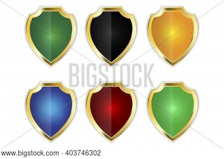 Colored Shields Set In Classic Style. Shield Icon Vector. Stock Image. Eps 10.