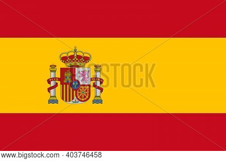 Realistic Flag Of Spain. Suitable For History Textbooks And Atlases.europe.