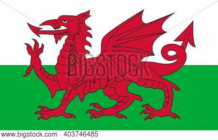 Flag Of Wales. Used For Travel Agencies, History Books, And Atlases. Europe, Travel.