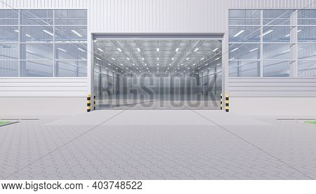 3d Rendering Of Warehouse Or Industry Building Interior Exterior. Use As Distribution Center For Loa