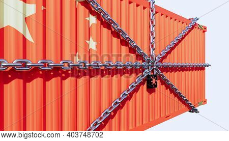 3d Rendering Of Cargo Container And China Business Lockdown Due To Epidemic Of Corona Virus, Cargo C