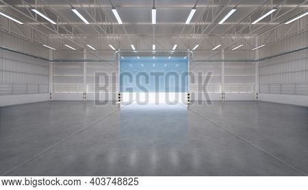 3d Rendering Of Factory Or Warehouse Or Industrial Building. Protection With Roller Door Or Roller S