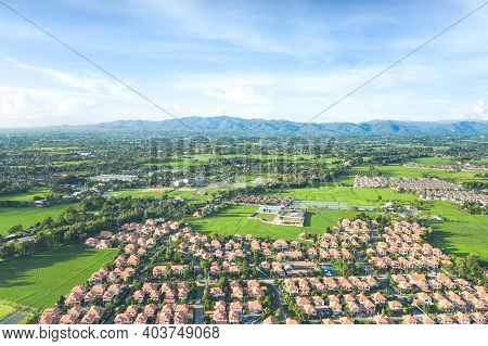 Housing Subdivision Or Housing Development. Also Call Tract Housing. Aerial View In Chiang Mai Of Th