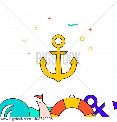Ship Anchor Filled Line Vector Icon, Simple Illustration, Water Safety And Watercraft Related Bottom
