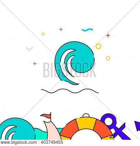Big Sea Wave, Seascape Filled Line Vector Icon, Simple Illustration, Water Safety And Watercraft Rel
