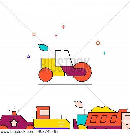 Asphalt Compactor Roller Filled Line Vector Icon, Simple Illustration, Special Transport Related Bot