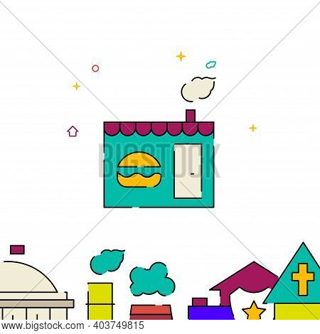 Bistro, Burger Shop, Fast Food Stall Filled Line Vector Icon, Simple Illustration, Building, House R