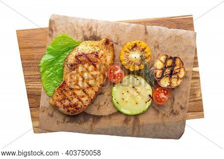 Grilled Tender Meat With Vegetables. Restaurant Serving Concept. Isolated.
