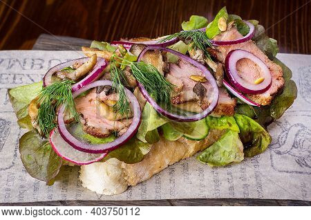 Cold Cuts With Fresh Herbs And Chanterelle Mushrooms. Restaurant Serving Concept. Isolated.