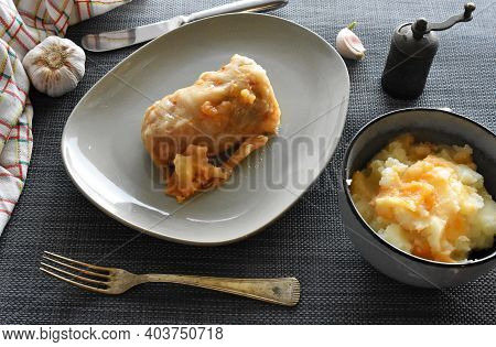 Cabbage Rolls With Meat, Rice And Vegetables. Stuffed Cabbage Leaves With Meat And Mashed Potatoes S