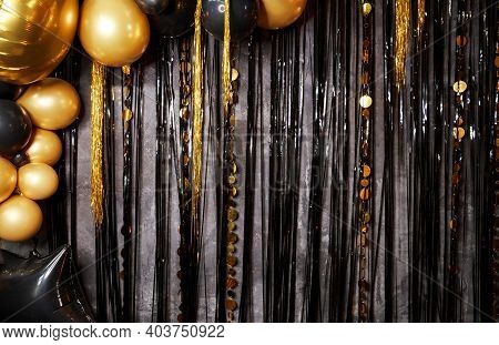 Party Time. Greeting Card. Creative. Happy Birthday Holiday. Shiny Gold, Black Balloons. New Year Ba