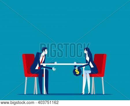 Partner Handing Money Under The Table. Business Corruption Concept