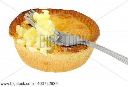 Traditional English Lancashire Savoury Butter Pies Isolated On A White Background.