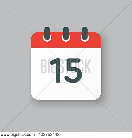 Vector Icon Calendar Day Number 15, 15th Day Month