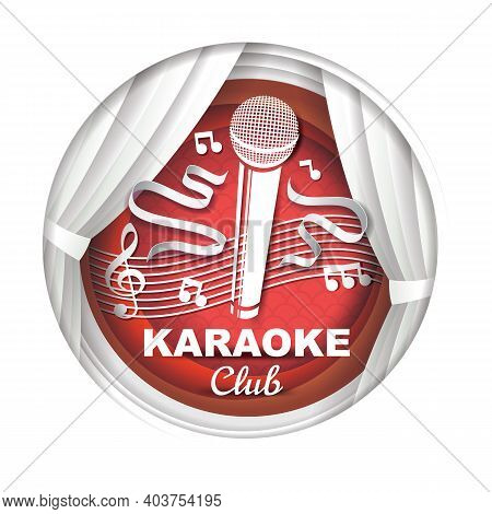 Paper Cut Karaoke Music Club Label, Logo, Badge. Microphone, Theater Stage Curtains, Music Notes, Ve