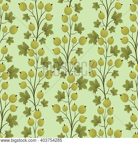 Vector Seamless Pattern With Gooseberry On Light Green Background; Vertical Branches On Dark Green B