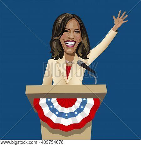 Asheville Nc, January 17, 2021. Caricature Of Kamala Harris, First Female And First Black Vice Presi