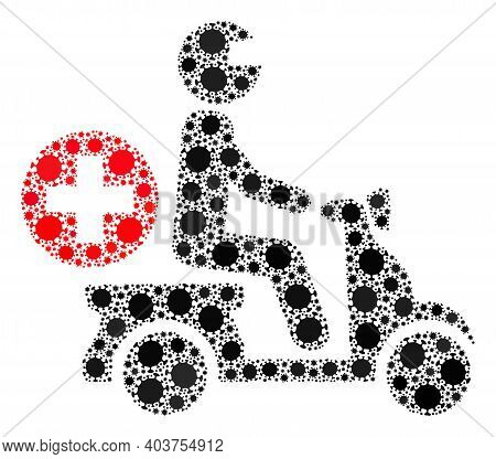 Vector Doctor Motorbike Covid-2019 Mosaic Icon Designed For Clinic Projects. Doctor Motorbike Mosaic