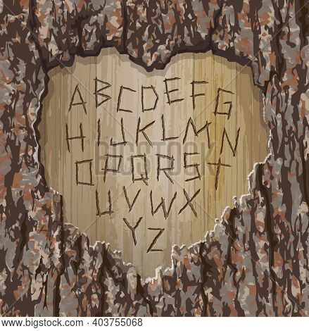 Alphabet Letters Carved Into A Tree With Heart Shape Cut Out.  Easy To Edit Font For Your Design. Ve