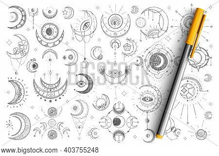 Spiritual And Esoteric Signs Doodle Set. Collection Of Hand Drawn Spiritual Eyes, Moons, Stars And E