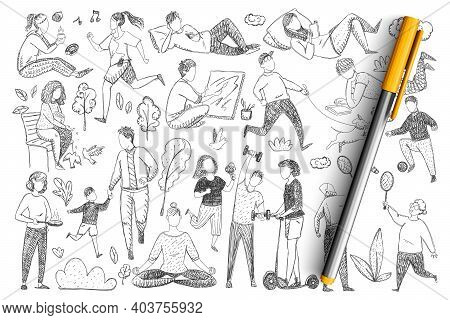 Healthy Family Lifestyle Doodle Set. Collection Of Hand Drawn Parents Doing Sport, Meditating, Playi