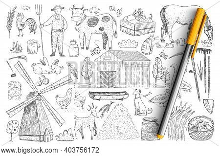 Agriculture And Farm Doodle Set. Collection Of Hand Drawn Farmer, Animals, Harvesting, Haystacks, Vi