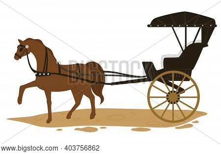 Horse Pulling Carriage, Transport In Old Times