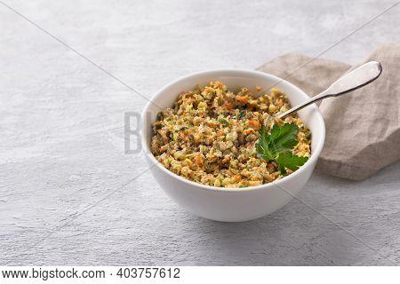 Vegan Lentil Stuffing With Vegetables For Homemade Dumplings, Vareniki, Pierogi, Kreplach In White B