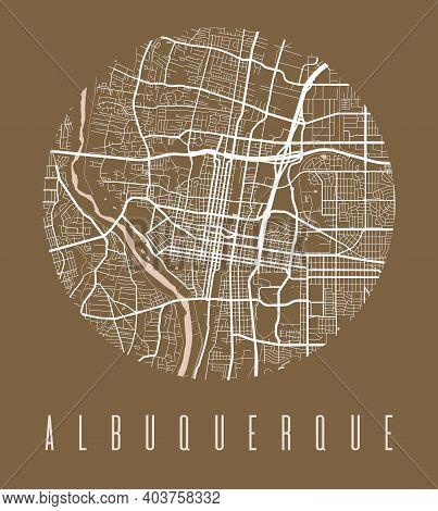 Albuquerque Map Poster. Decorative Design Street Map Of Albuquerque City. Cityscape Aria Panorama Si