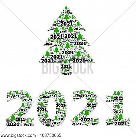 Vector 2021 Fir Tree Fractal Is Done Of Scattered Fractal 2021 Fir Tree Icons. Fractal Combination F