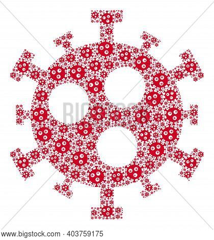 Vector Covid-2019 Virus Fractal Is Composed From Randomized Fractal Covid-2019 Virus Parts. Recursiv
