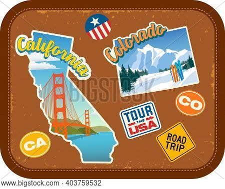 California And Colorado Travel Stickers With Scenic Attractions And Retro Text On Vintage Suitcase B