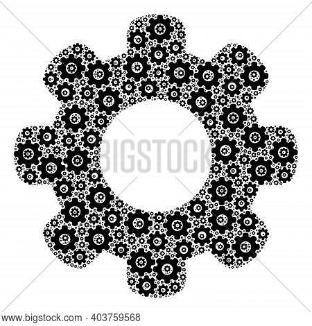 Vector Gear Wheel Composition Is Created From Repeating Itself Gear Wheel Items. Recursive Compositi