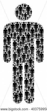 Vector Man Figure Composition Is Designed Of Scattered Fractal Man Figure Pictograms. Fractal Compos