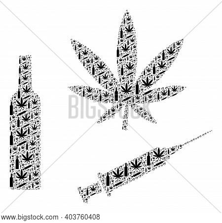 Vector Narcotic Drugs Fractal Is Made Of Repeating Fractal Narcotic Drugs Pictograms. Fractal Collag